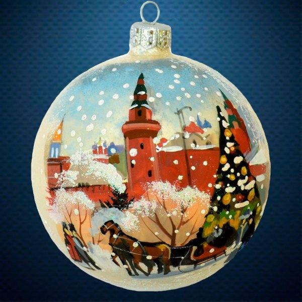 Стеклянный елочный винтажный шар Города мира Новый Год!