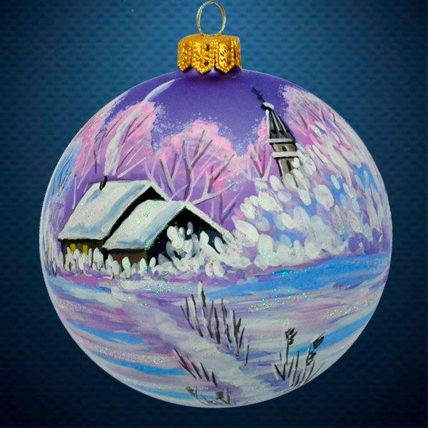 Стеклянный елочный винтажный шар Волшебница Зима