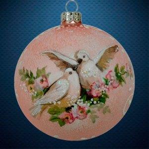 Стеклянный елочный винтажный шар из серии Птички и звери Голуби
