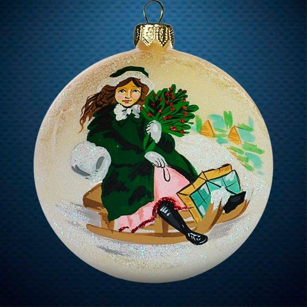 Стеклянный елочный винтажный шар Девушка на санках