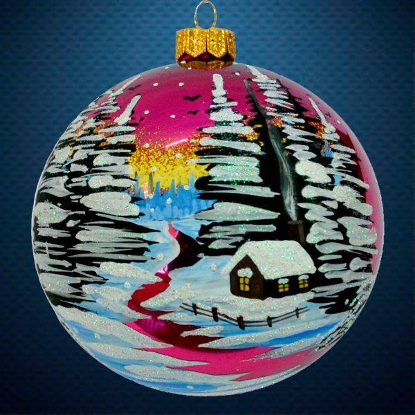 Стеклянный елочный винтажный шар Зимние краски