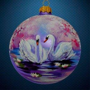 Стеклянный елочный винтажный шар из серии Птички и звери Лебеди