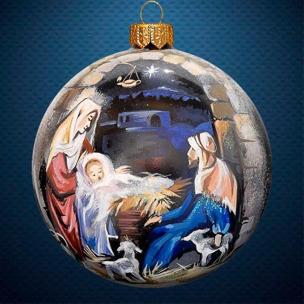 Стеклянный елочный винтажный шар из серии Рождество Вертеп