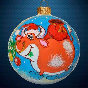 Стеклянный елочный винтажный шар символ года Бычок с мешком подарков