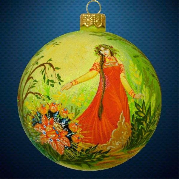 Стеклянный елочный винтажный шар Аленький цветочек