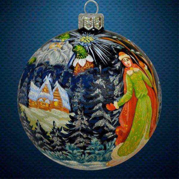 Стеклянный елочный винтажный шар Морозко