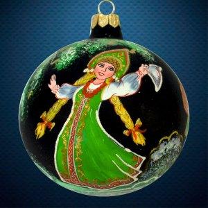Стеклянный елочный винтажный шар Танец