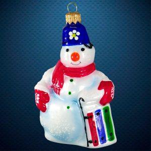 Стеклянная елочная игрушка фабрика Ариель(Ариэль) Снеговик голубой
