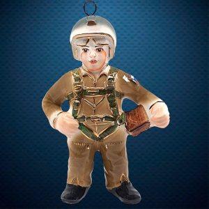 Керамическая елочная игрушка из серии Солдатики Фарфоровая Мануфактура Вертолетчик
