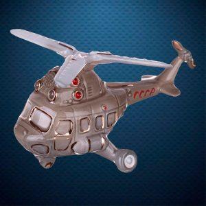 Вертолет гражданский Керамическая елочная игрушка из серии Ретротехника Фарфоровая Мануфактура
