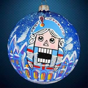 Стеклянный елочный винтажный шар Щелкунчик.Город