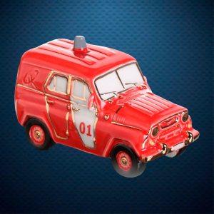 УАЗ пожарный Керамическая елочная игрушка из серии Ретротехника Фарфоровая Мануфактура