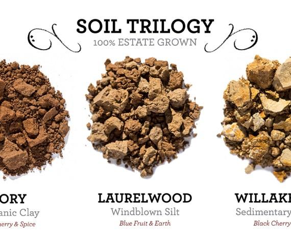 three piles of soil: Jory, Laurelwood and Willakenzie