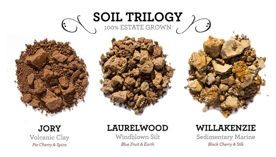 Jory: Volcanic Clay, flavors of pie cherry and spice. Laurelwood: Windblown Silt, flavors of blue fruit and earth. Willakenzie: Sedimentary Marine, flavors of black cherry and silk