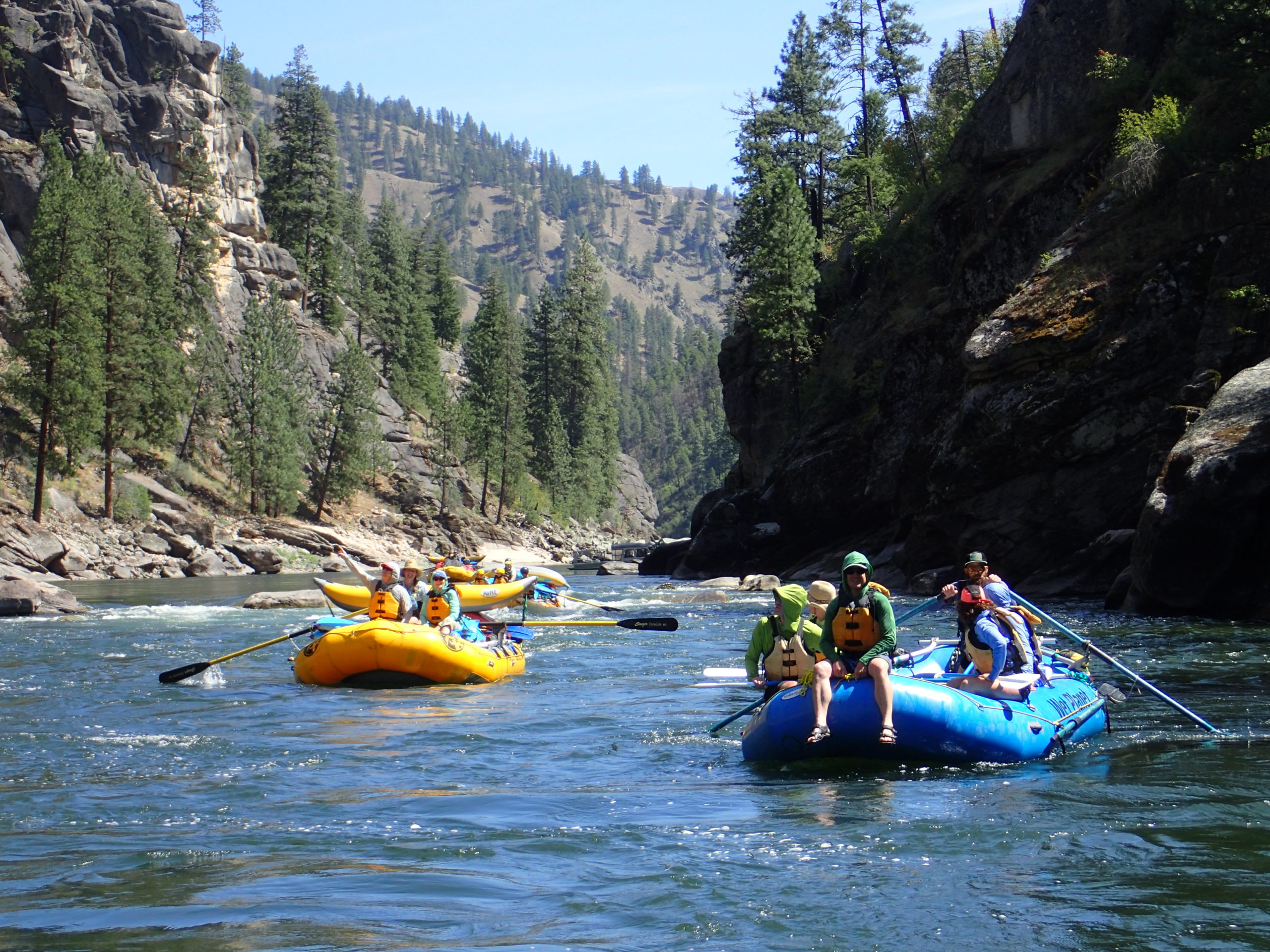 Two rubber rafts on the Main Salmon River in Idaho