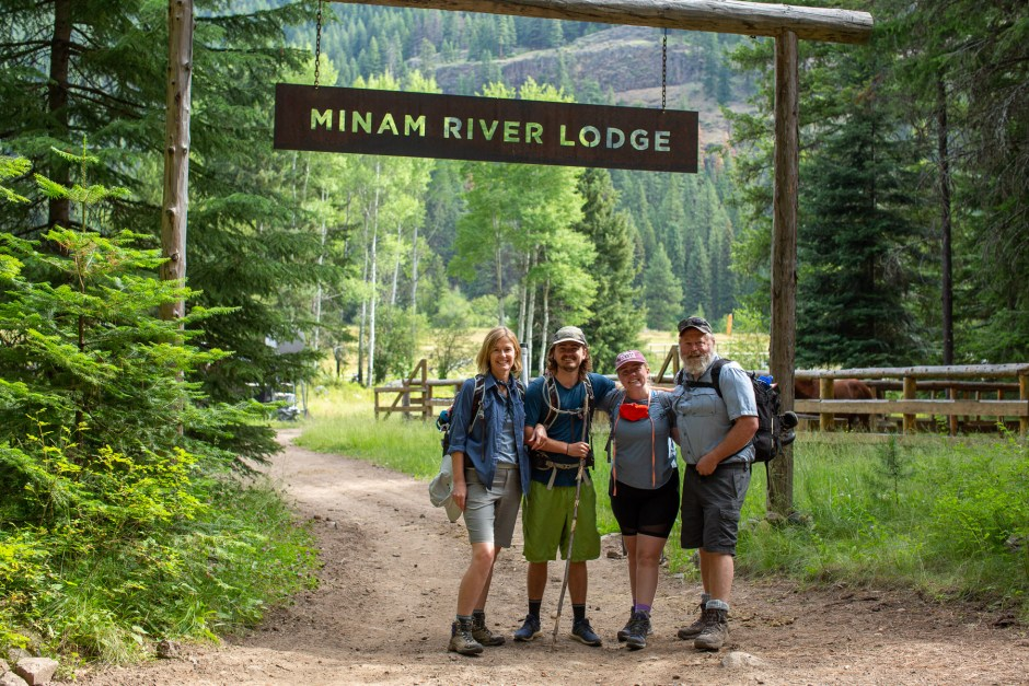 Adam and Carrie and family at the Minam River Lodge