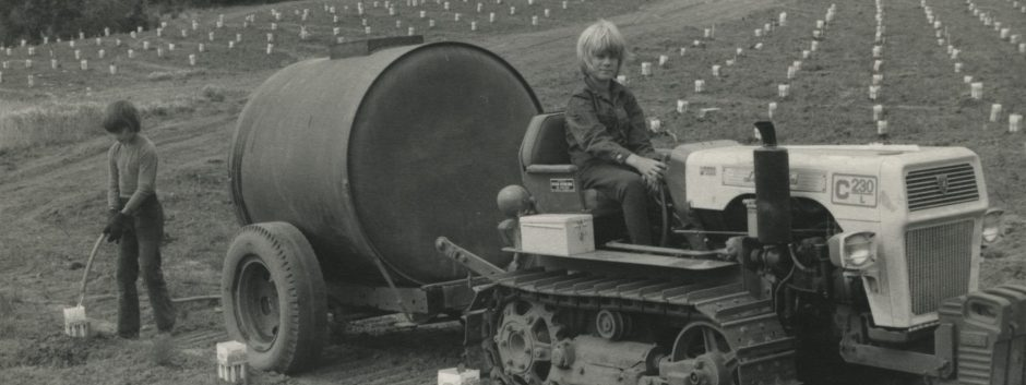 One boy driving a crawler tractor with another boy watering grapevines in milk cartons