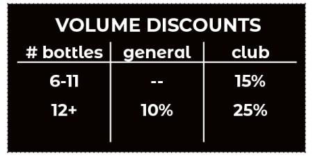 Volume Discounts: 6-11 bottles 15% Club Members, 12+ bottles 10% general and 25% for Club Members