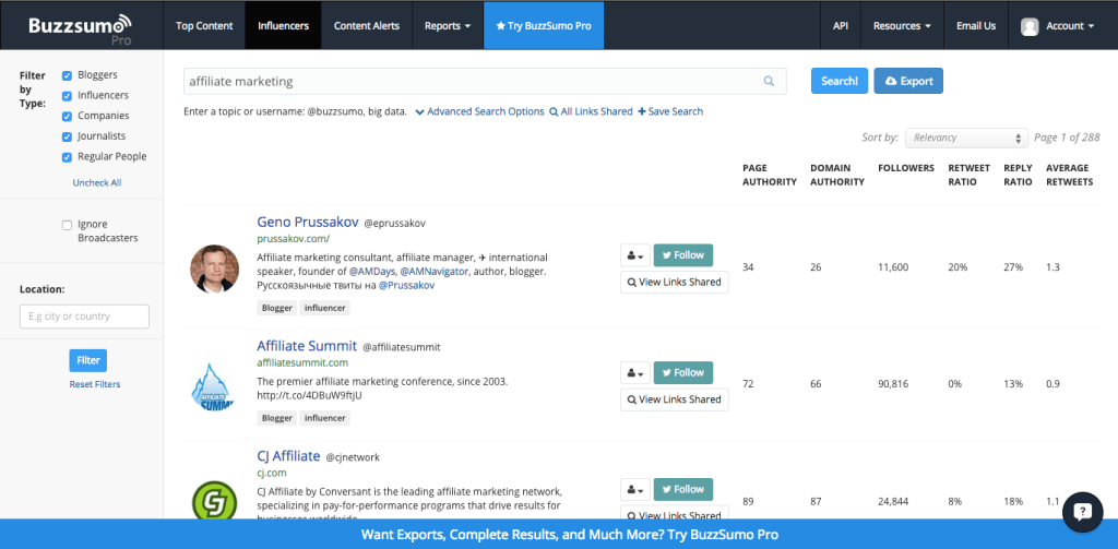 BuzzSumo Affiliate Marketing Top Influencers
