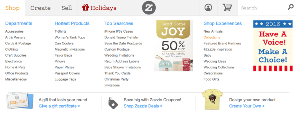 """Zazzle """"Shop"""" Tab Drop Down Menu Showing the Zazzle Collections Section. See the orange text."""