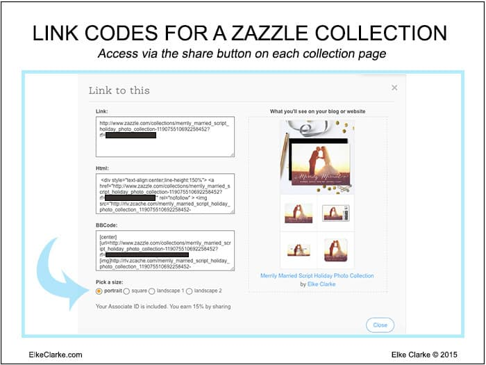 Zazzle provides the url link and HTML codes for adding a Zazzle Collection to your blog or website.