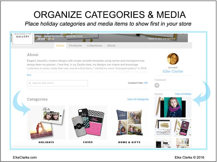 "This image shows how on your store ""home"" page, you can showcase your holiday store categories and media files at the top so your customers can easily access the products they want."
