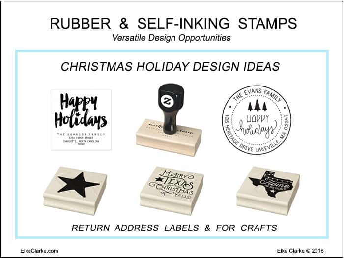 Examples of Versatile Design Options for Christmas to add to Self-Inking and Rubber Stamps a new product on Zazzle