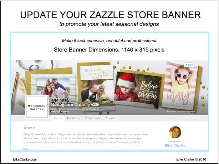 Get ready for the holidays by updating your Zazzle store banner