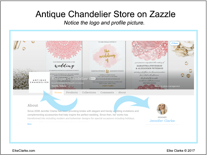 Antique Chandelier Store on Zazzle Showing a Good Store Logo and Profile Photo