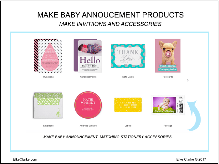 Make Baby Announcement Matching Stationery Accessories
