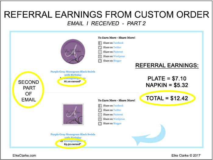 My Zazzle Referral Earnings from the Custom Order Part 2 of Email