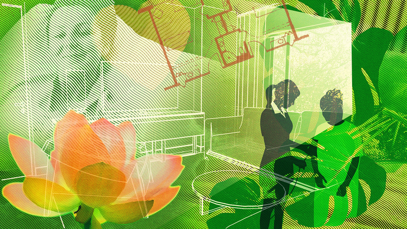 An abstract image with several overlays, including a 3d perspective of a patient room, a plan of a patient room, plants, and a woman standing