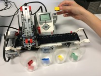 EV3 Colour Sorter uses the colour sensor and then delivers the block to the correct cup.