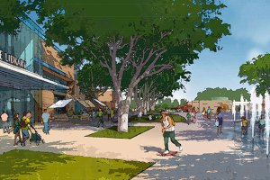Rendering of Civic Center Commons looking east Photography Credit: City of Elk Grove & Wood Rodgers