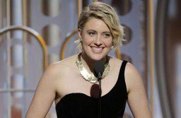 Greta Gerwig accepting her award for Best Motion Picture Musical or Comedy