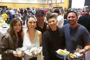 Karen Blankenship, Anne Phong, Ronnie Lim (Owner of Chason's Crab Stadium), Senh Ly, and Joe Blankenship enjoy Taste of Elk Grove