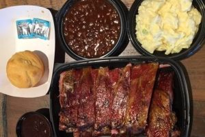 Baked Beans, Mashed Pototoes, Corn Bread with Butter, Pork Ribs with Barbeque Sauce