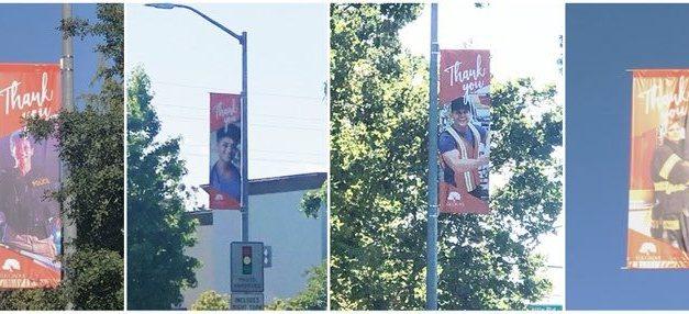 Banners In Elk Grove Honoring Essential Workers