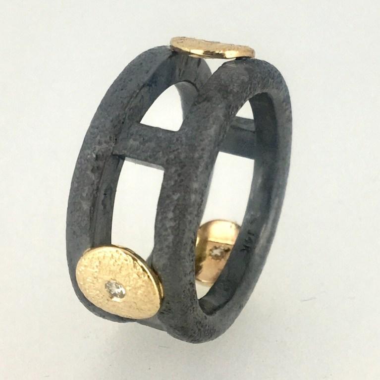 Circles ring, silver, 18k bimetal, diamonds