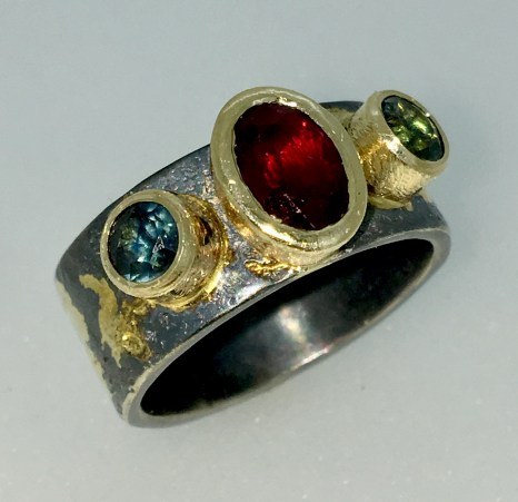 Ruby ring, heirloom ruby,, 1.75 carat, Montana sapphires, gold, silver