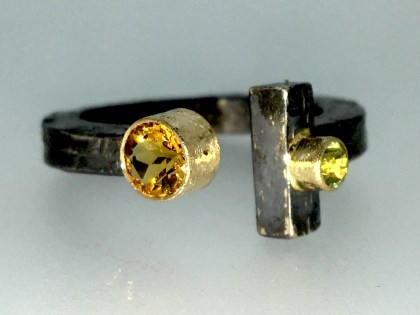 Torq ring, citrine, peridot, silver, gold