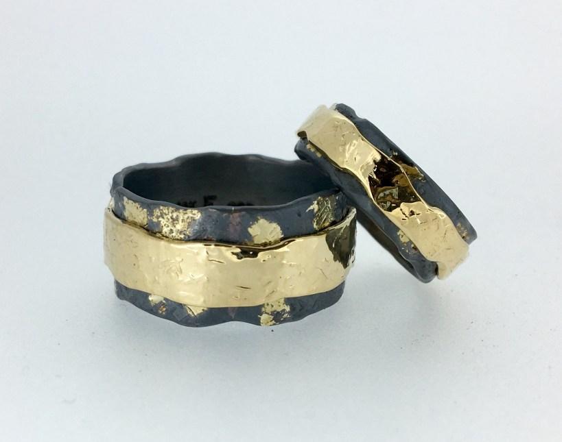 River rings, 14k gold, silver