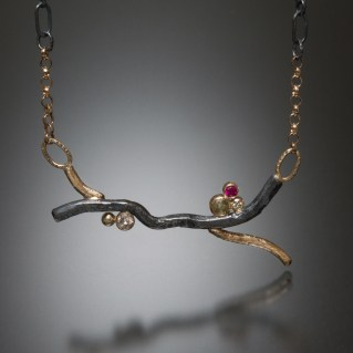 Twig Pendant diamonds, natural color rose cut diamonds, ruby, silver and gold