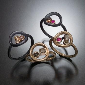 Circle rings, diamonds, rubies