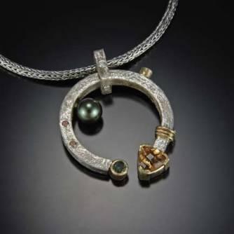 Athena Pendant, silver, Tahatian pearl, citrine, tsavorite, diamonds