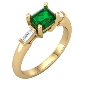 Emerald ring, 14k gold, diamonds