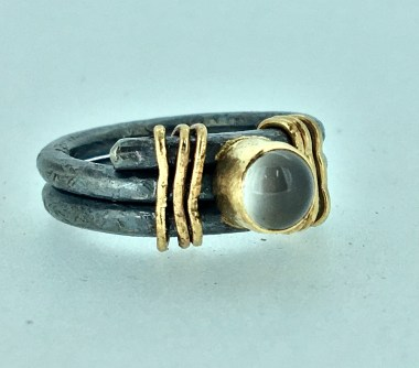 Moonstone ring, silver, gold