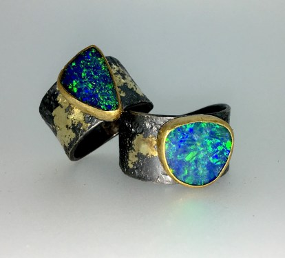 Opal ring, 22k gold, silver, 14k gold