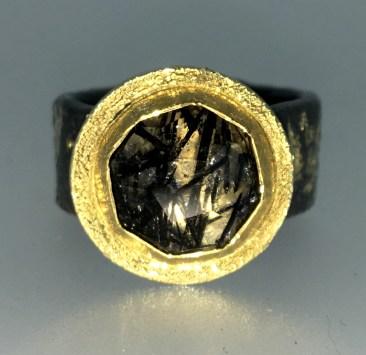 Rutilated quartz ring, 22k gold, silver, 14k gold