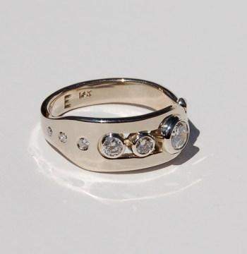 Mountain bike ring, 14k Palladium white gold, diamonds